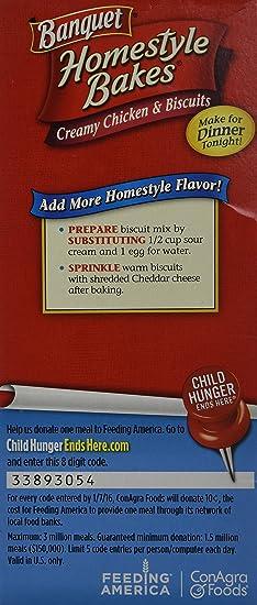 Banquet Homestyle Bakes Creamy Chicken Biscuits 2810oz Box