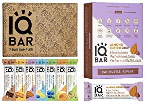 IQBAR Keto Protein Bars Bundle (19 Bars) - Gluten-free, Dairy-free Low Carb Protein Bars and Vegan Snacks - 12 Almond Butter Chip Protein Bars + 7 Bar Sampler Keto Snacks
