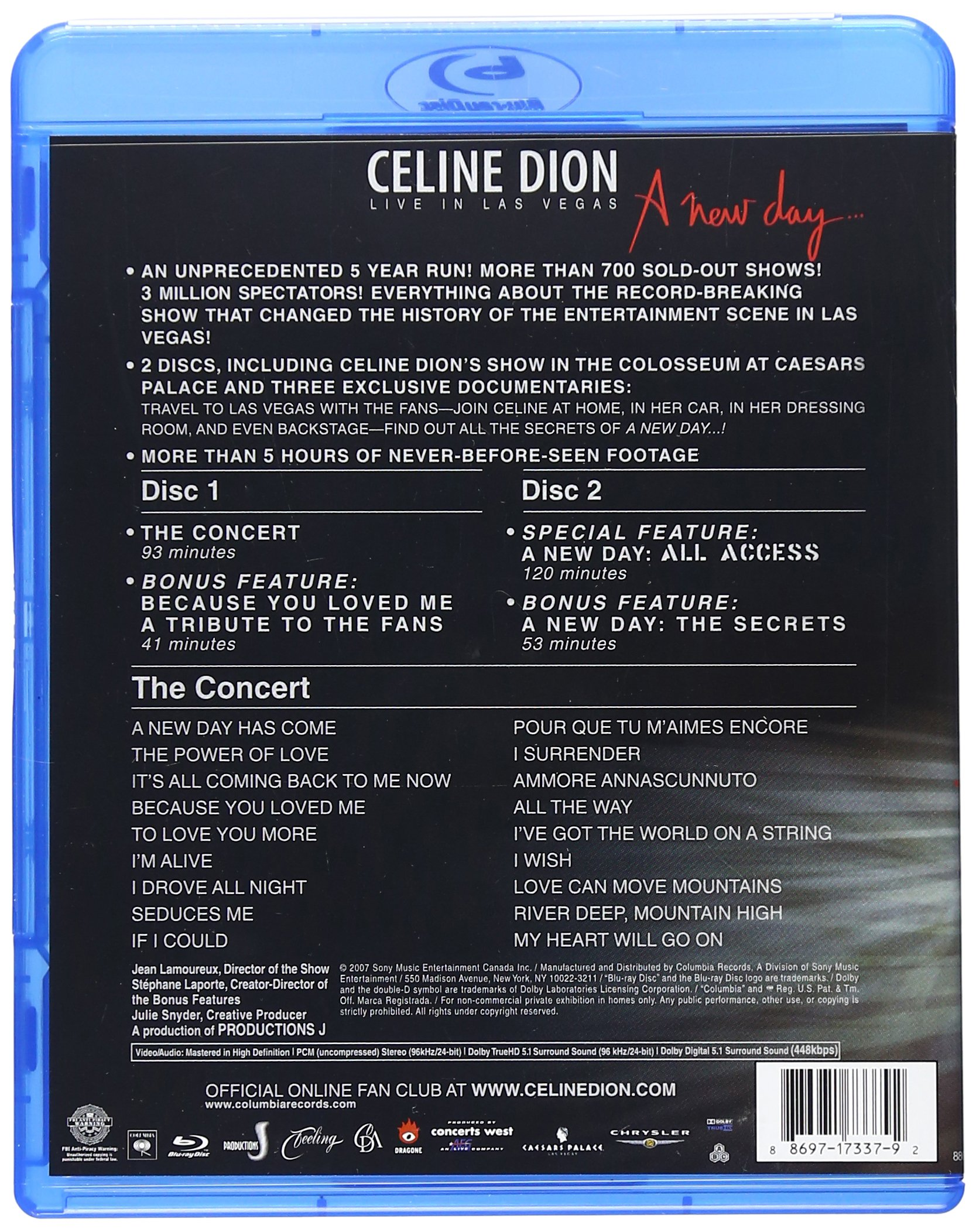 Celine Dion: Live in Las Vegas - A New Day [Blu-ray] by Legacy