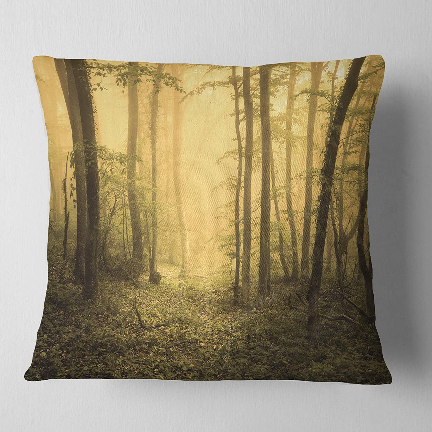 Designart Cu8445 16 16 Trail Through Yellow Foggy Forest Landscape Photography Throw Pillow 16 X 16 Amazon Ca Home Kitchen