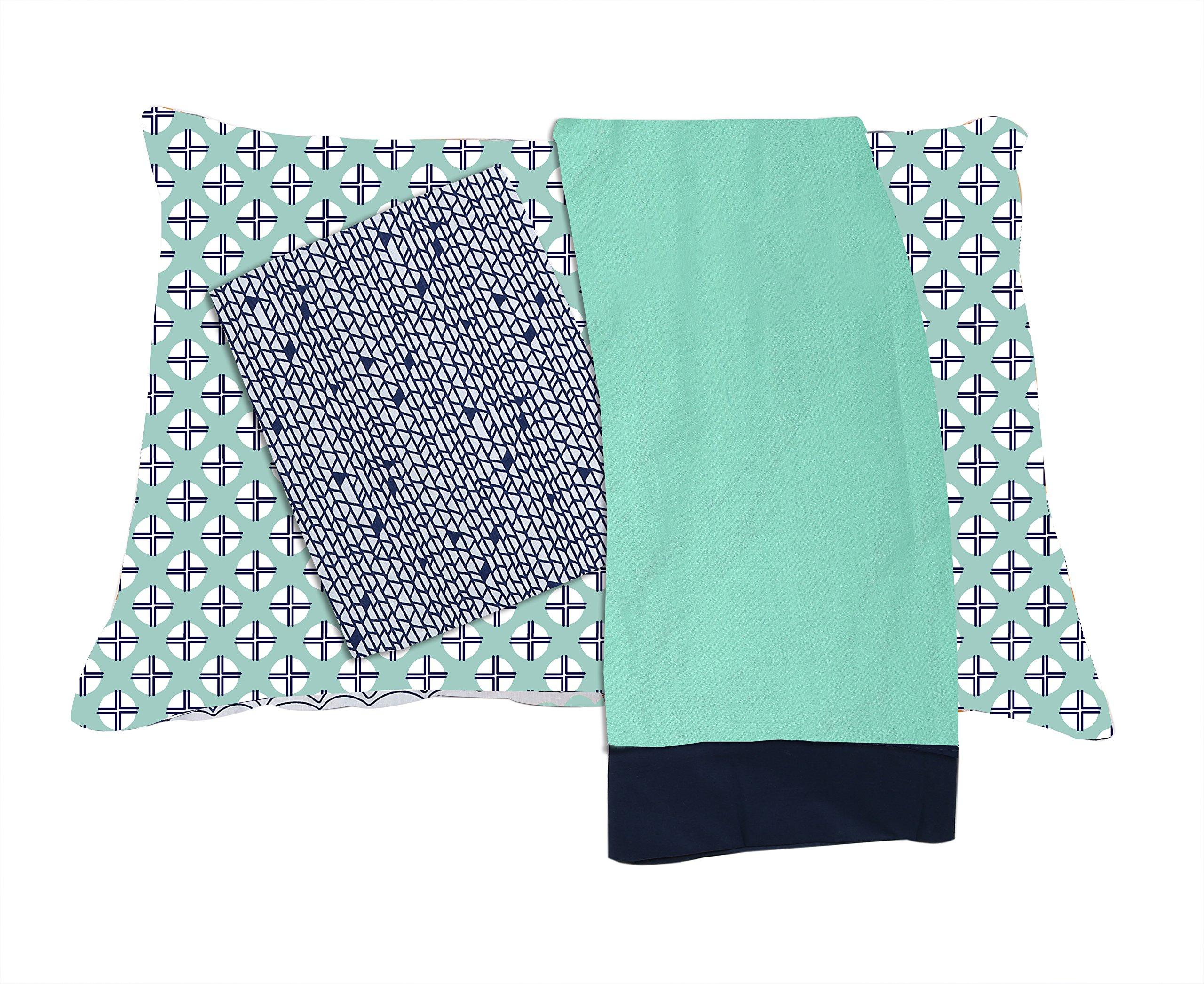 Bacati Noah Tribal 3 Piece Cotton Percale Toddler Sheet Set, Mint/Navy
