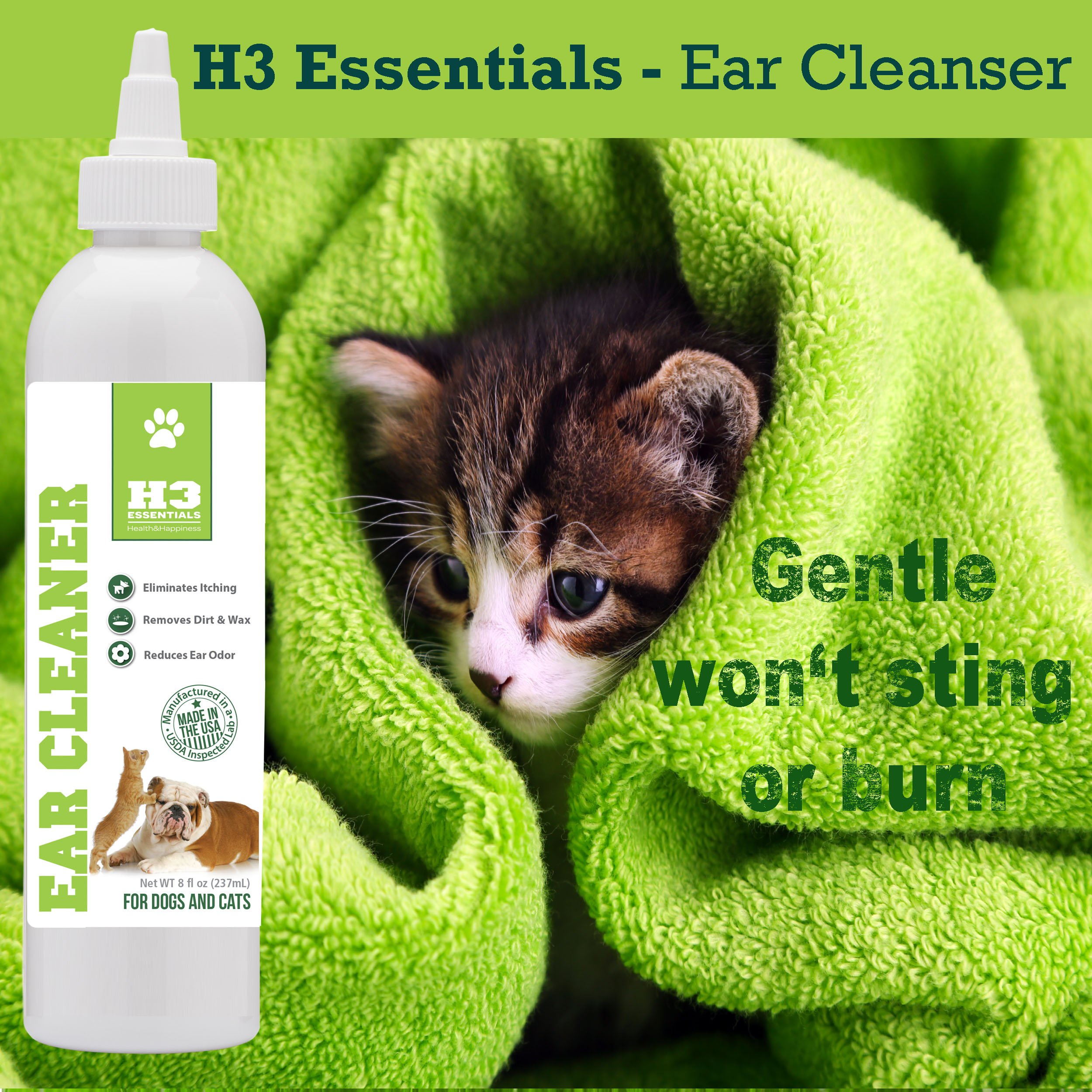 H3 Essentials Dog Ear Cleaner For Dogs and Cats with Aloe - Prevents Infection, Cleans and Dries Pets Ears - 8 oz by H3 Essentials (Image #7)