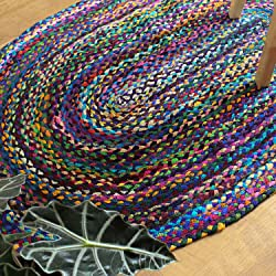 Luxzura Braided Chindi Area Rug - Handmade, Cotton, Multicolor & Reversible (Oval 3x5, Blue)
