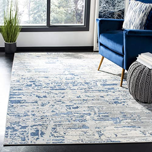 Safavieh Jasper Collection JSP107B Modern Contemporary Abstract Area Rug, 8 x 10 , Ivory Blue