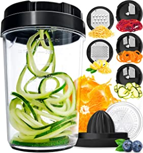 Vegetable Spiralizer Vegetable Slicer - 8-in-1 Zucchini Spaghetti Maker Zoodle Maker Veggie Spiralizer - Zucchini Noodle Maker Spiralizer Handheld Cheese Grater Zester Lemon Squeezer Citrus Juicer