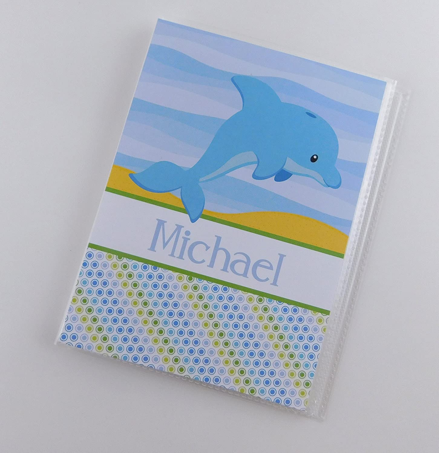 Photo Album IA#848 4x6 or 5x7 Pictures Grandmas Brag Book Baby Boy Gift Personalized With Name Birthday Blue Dolphin