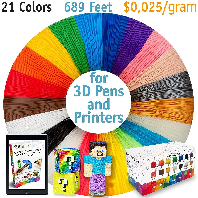 3d pen filamento recargas – 20 Plus 1 Bono color incluye 6 brilla ...