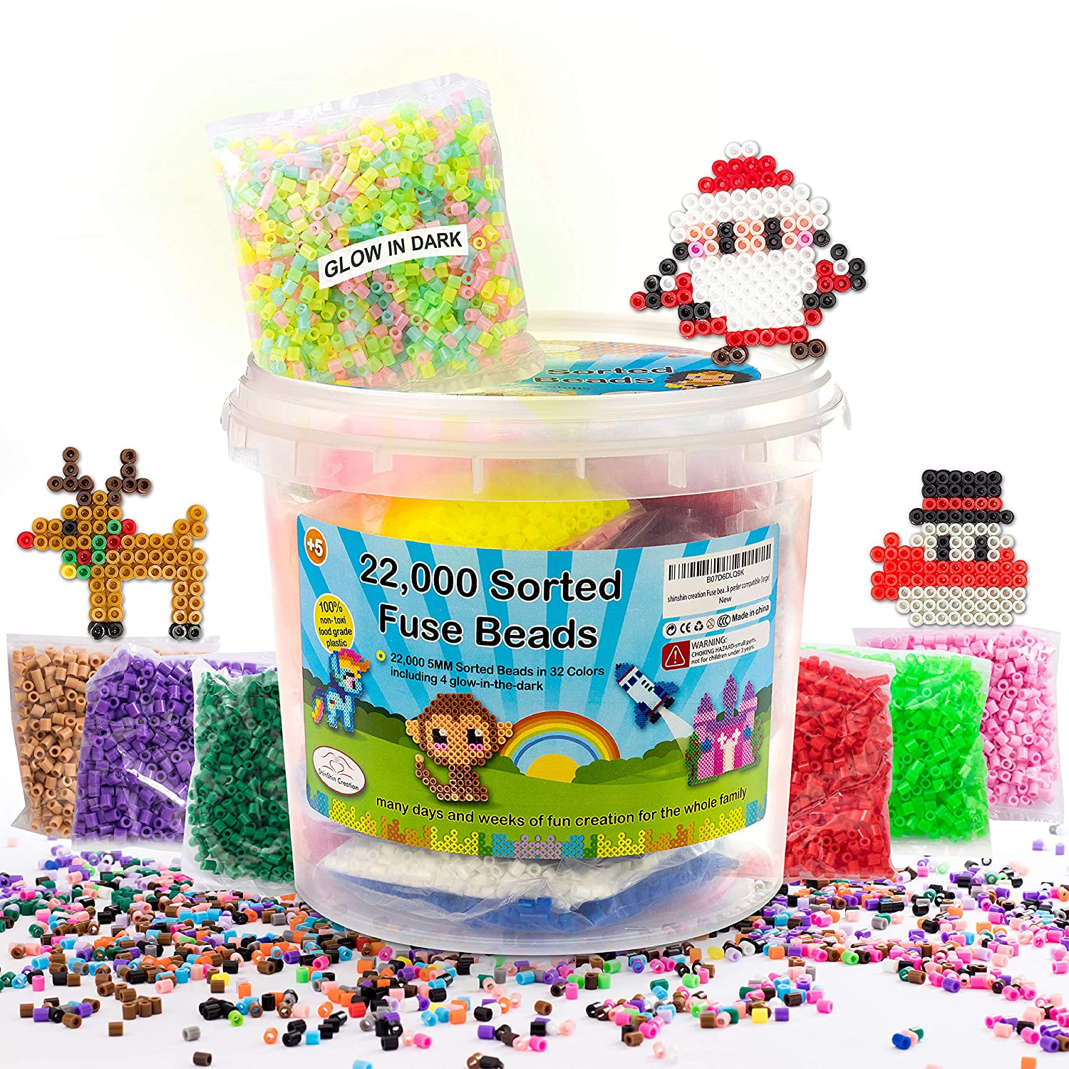shinshin creation 22 000 Pre Sorted Fuse Beads Bucket Size 5mm 32 Colors Including Glow in The Dark Perler Compatible