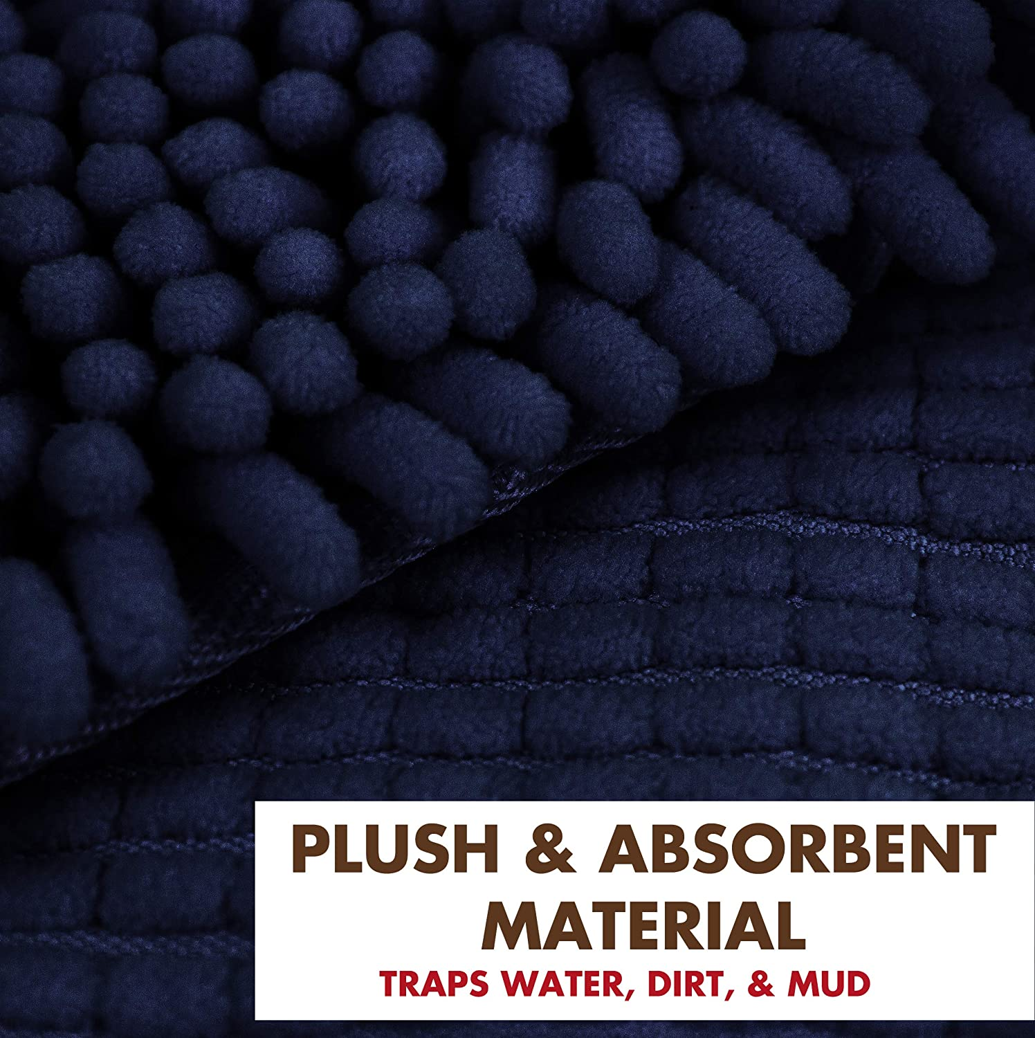 My Doggy Place - Ultra Absorbent Microfiber Chenille Dog Bath Shammy Dry Towel with Hand Pockets, Durable, Quick Drying, Washable, Prevent Mud Dirt Navy Blue