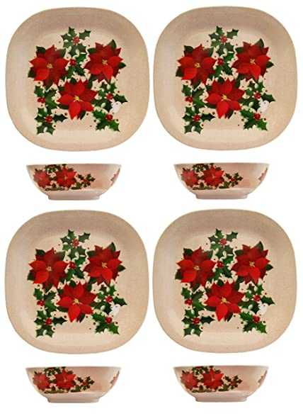 Set of 8pc Holiday Christmas Holly Melamine Square Plates and Square Bowls! 11u0026quot; Plates  sc 1 st  Amazon.com & Amazon.com | Set of 8pc Holiday Christmas Holly Melamine Square ...
