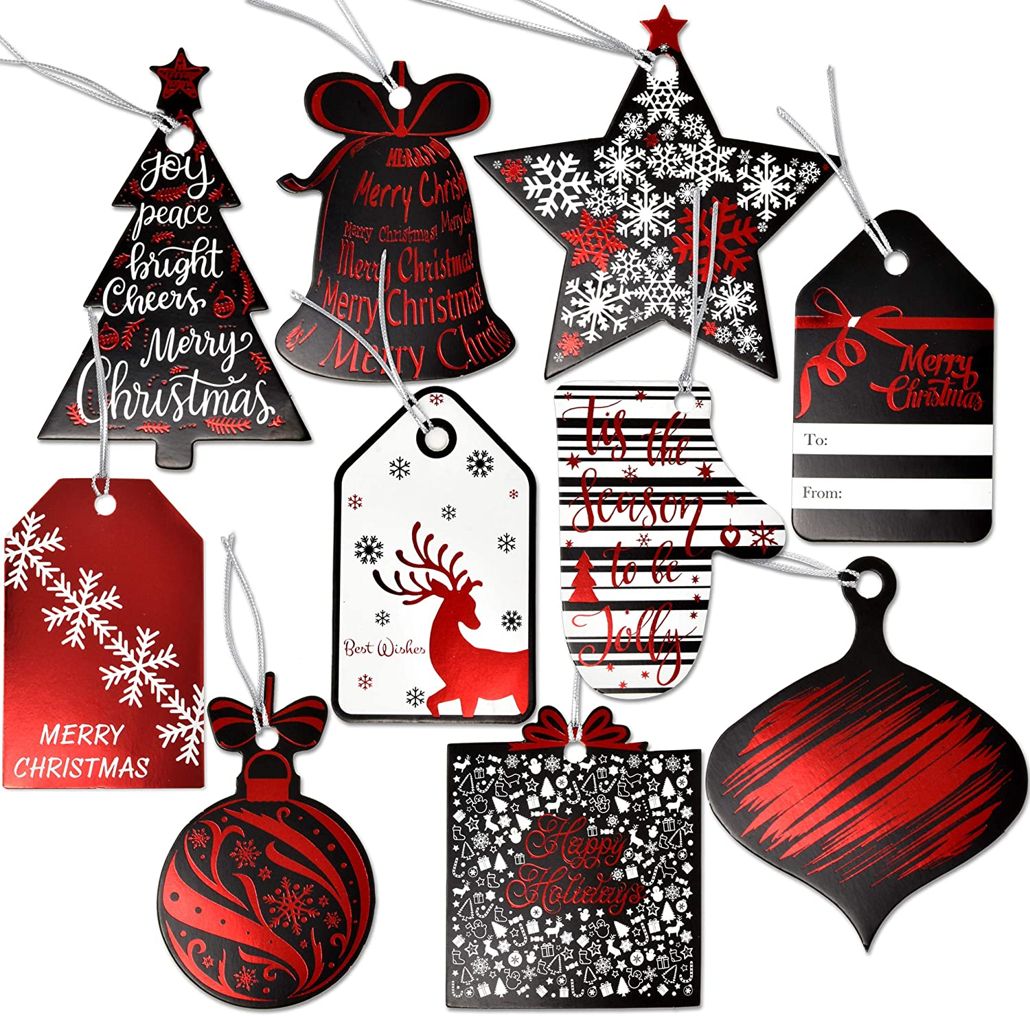 Christmas Gift Tags 40 Silver Foil Gift Tags With 5 Different Messages With Ties