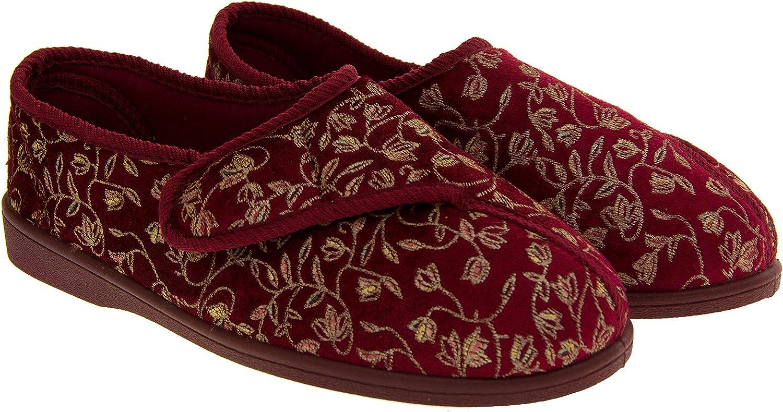 Diab/ético ortop/édico Ladies Wide Fit Totalmente Lavable Touch Cerca Bar Correa Zapatos Zapatillas