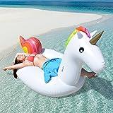 Aufblasbare Einhorn Luftmatratze - Super Spaß für Kinder und Erwachsene - lustiges Must-have am Strand und im Schwimmbad - Wasser-Spielzeug Pool Luftmatratze Schwimmtier - schnell aufblasbar mit Spezial- Ventil