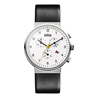 Braun BN0035WHBKG - Reloj cronógrafo de caballero de cuarzo con correa de piel negra: Amazon.es: Relojes