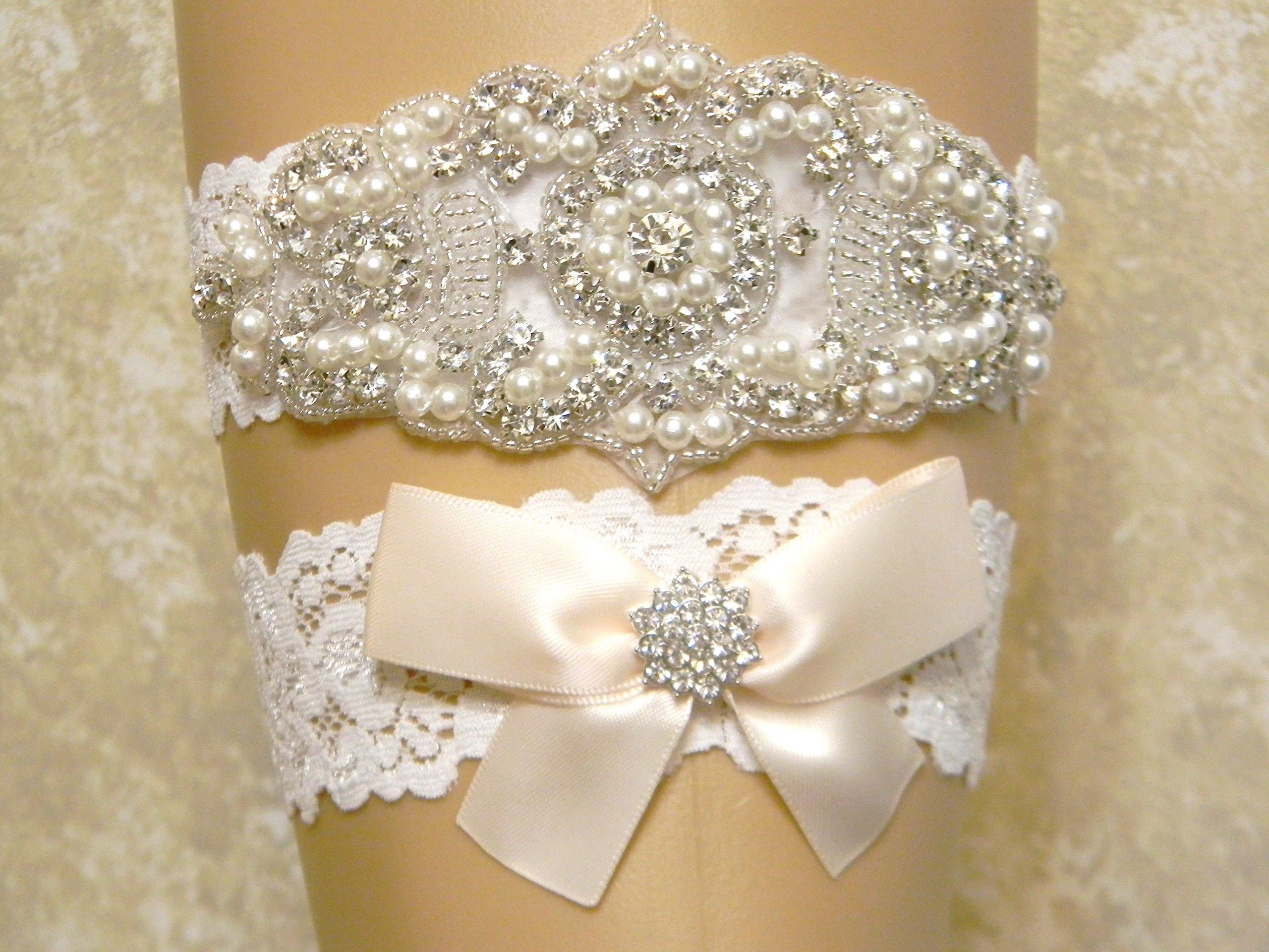 Light Champagne Wedding Garter Set, Bridal Garter Belt, Pearl and Crystal Rhinestone Keepsake and Toss Garter Set, Lace Garters, MORE COLORS by PCB Studio