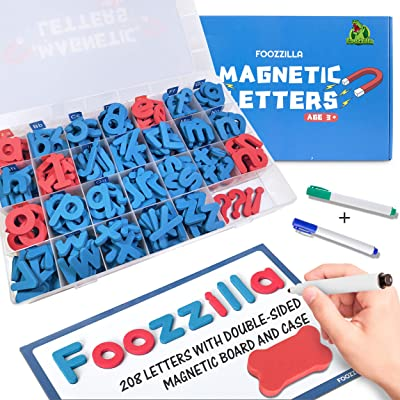 FOOZZILLA Magnetic Letters Classroom Kit with Double-Sided Magnetic Board - ABC Learning and Spelling Foam Alphabet Magnet Letter Set for Kids, Teacher and School: Toys & Games