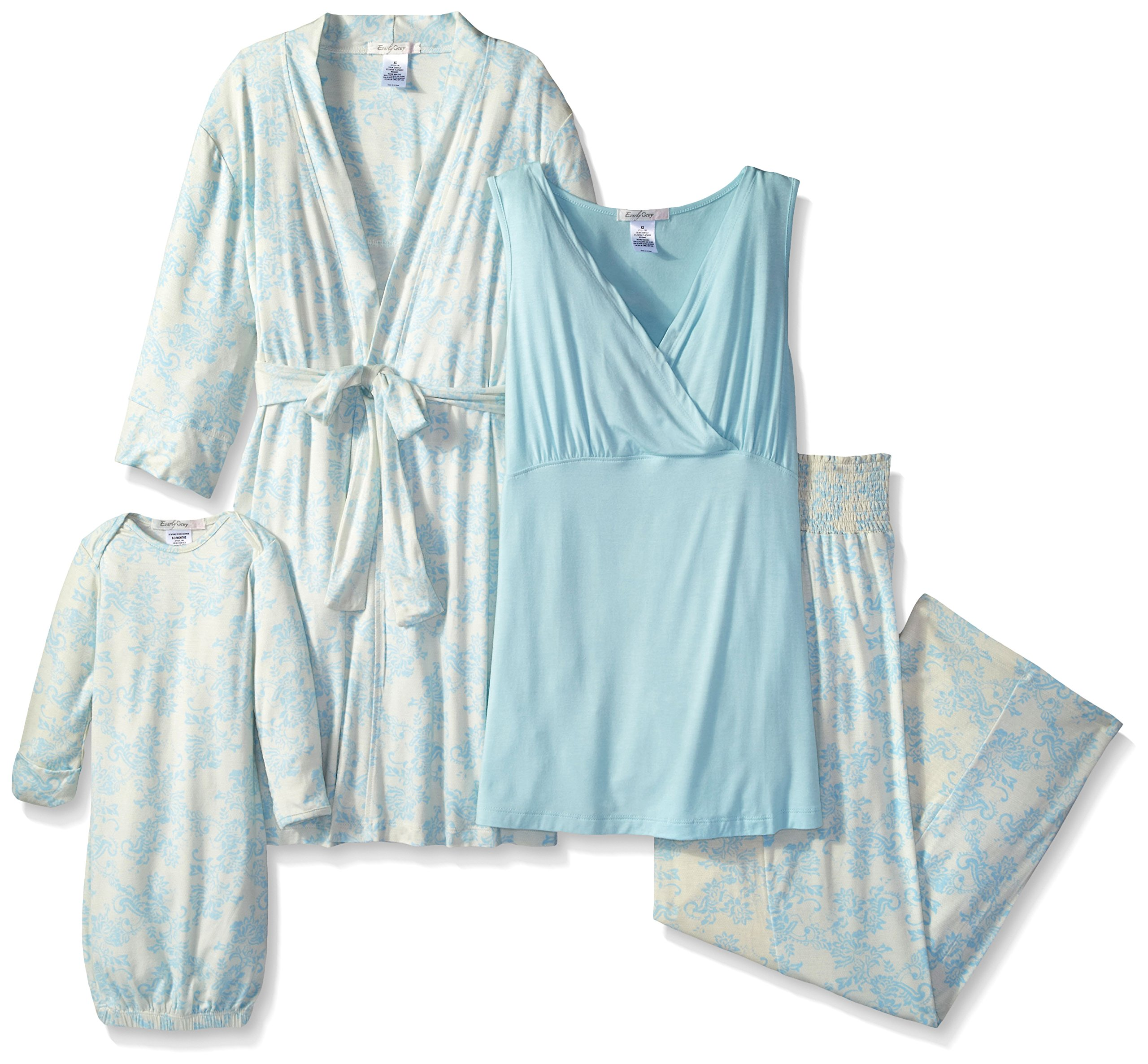 Everly Grey Women's Roxanne 5 Piece Maternity and Nursing PJ Pant Set with Robe and Matching Baby Gown, Chantilly, Small