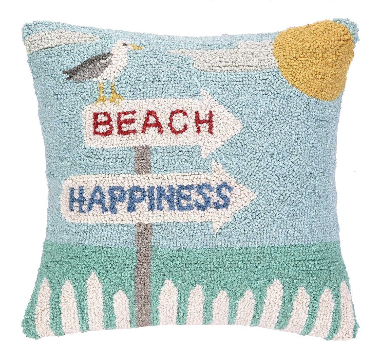 Peking Handicraft Beach Happiness Seagull Hook Pillow 16 by 16-Inch
