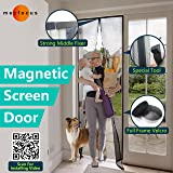"""Mecfocus-NEW Magnetic Screen Door 43.3x94.5"""" MAX, Width and Length Adjustable by Cut, Special Top Reinforced Fixer, Full Frame Velcro, Magic Mesh Easy Screen Door With Magnets, Anti Bug,Mosquito,Fly"""