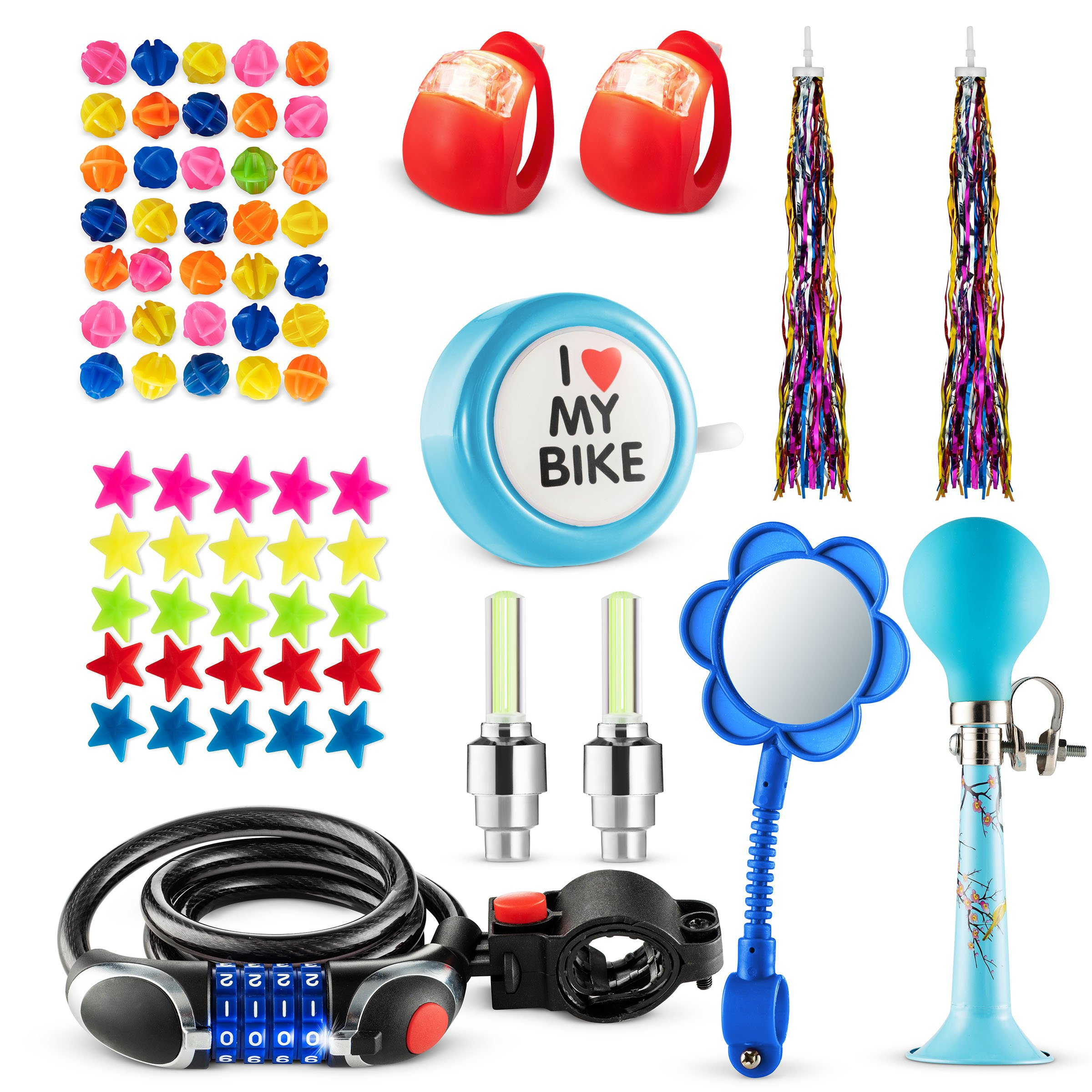Bikes On Hikes 70 Piece Children's Bike Set Blue- Includes Horn, LED Combination Chain Lock, Mirror, Bell, 2 Streamers, 2 Flash Valve Sealing Caps, 2 Red Lights, 30 Stars, 30 Balls Spoke Lights
