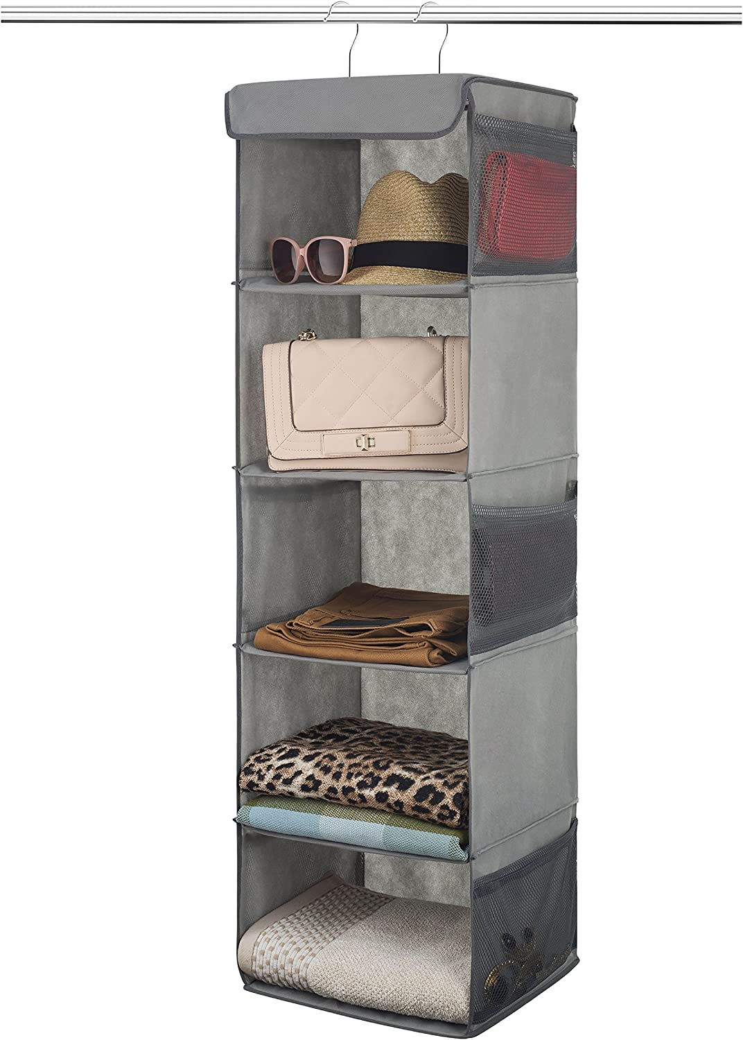 5-Shelf Hanging Wardrobe Storage Organiser - Strong & Durable Hanging Shelves with Metal Hooks - Breathable, Easy Access Closet Storage System with Pockets - Clothes & Shoes Hanging Cupboard Storage