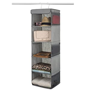 Zober 5 Shelf Hanging Closet Organizer Space Saver, Roomy Breathable Hanging Shelves With (6) Side Accessories Pockets, And 2 Sturdy Hooks, For Clothes Storage, And Shoes, Etc. 12 x 11 ½ x 42 In, Gray