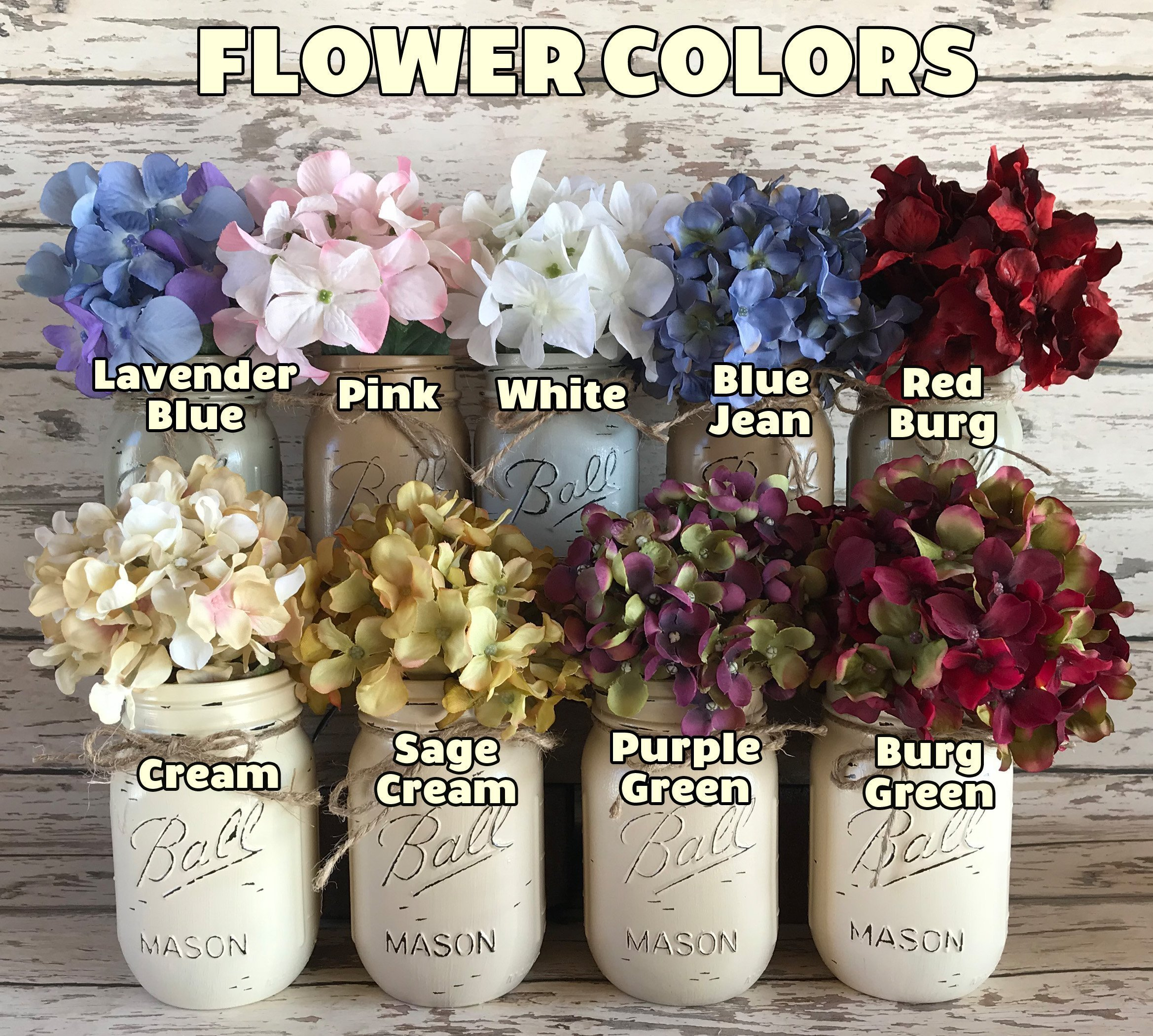 Mason Canning Jar Kitchen Farmhouse Table Centerpiece with 5 Hand Painted Ball QUART Jars in Distressed Wood Tray rusty handles *Antique White Red Brown Blue -BEAUTIFUL Hydrangea Flowers are optional by Wooden Hearts (Image #7)