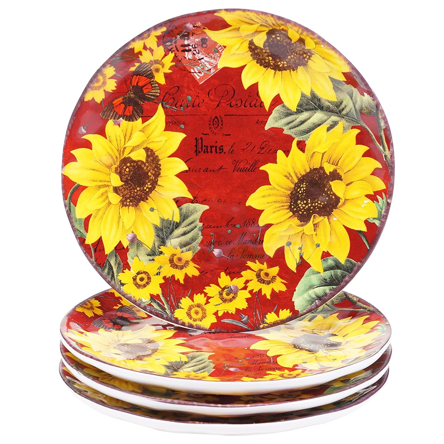 Certified International 13981SET/4 Sunflower Meadow Salad/Dessert Plates (Set of 4), 8.5-Inch, Multicolor