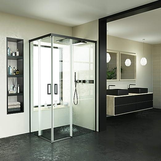 Mampara de ducha VAROBATH ANGULAR 2 FIJAS-2 PUERTAS CORREDERAS SIN PERFIL INFERIOR – Tratamiento ANTICAL INCLUIDO (70-80x90-110, Negro): Amazon.es: Bricolaje y herramientas