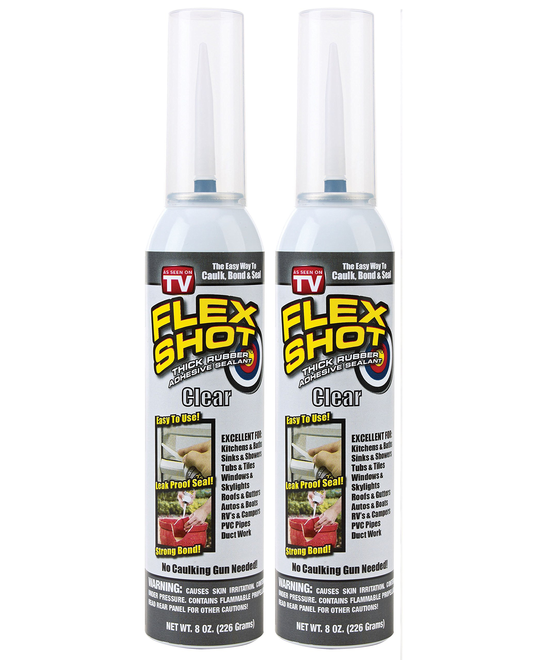 Flex Shot Rubber Adhesive Sealant Caulk, 8-oz, Clear (2 Pack)