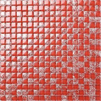 Glas Mosaik Fliesen Matte In Rot Gebrochene Und Klare Glas Optik - Fliesen glasoptik