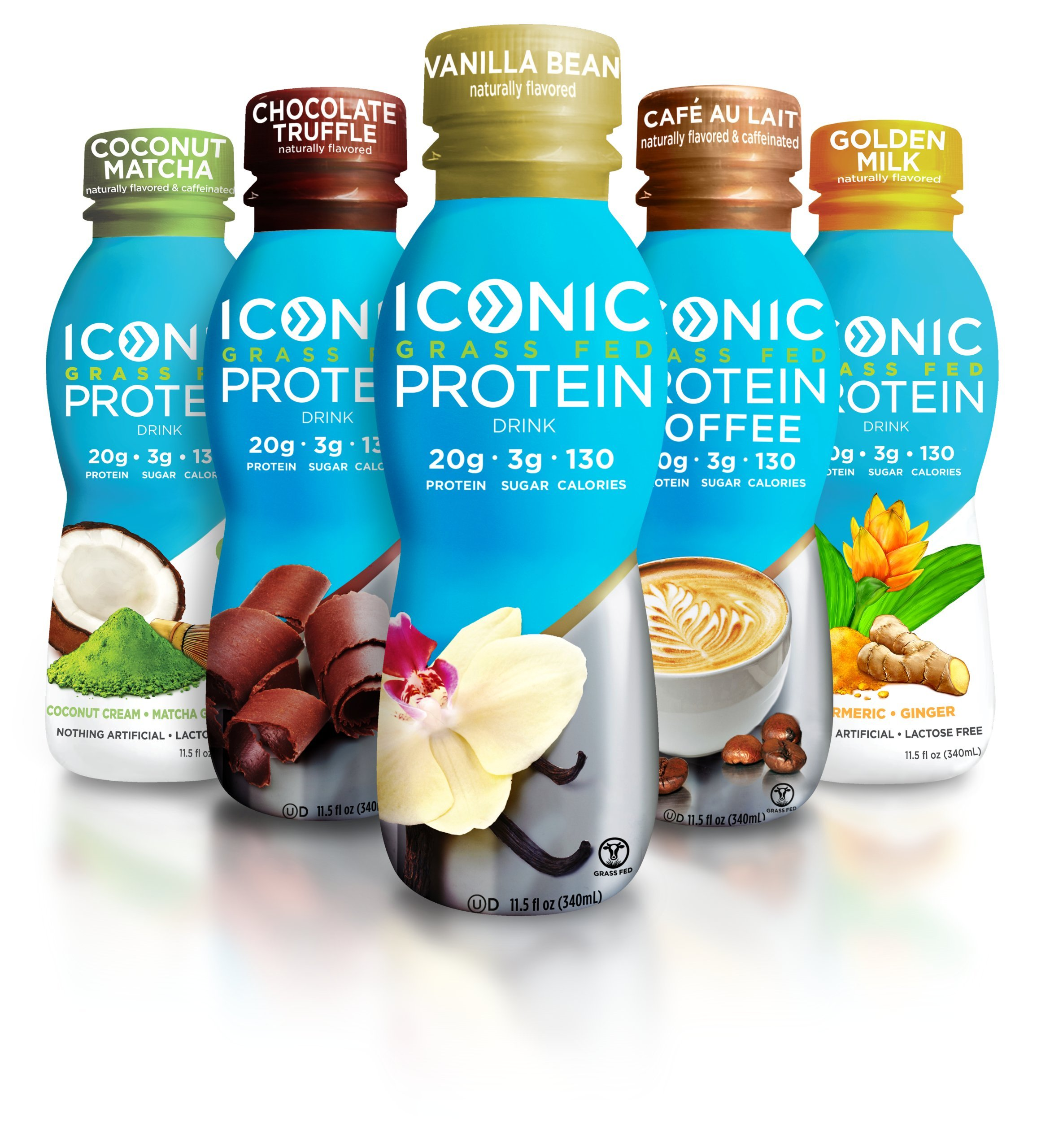 Iconic Grass Fed Protein Drink, Sample Pack (5 Flavors) | Healthy, Natural Clean Protein Shake | Perfect Snack for Breakfast, Post Workout Muscle Recovery, Light Meal Replacement | Paleo Friendly by ICONIC