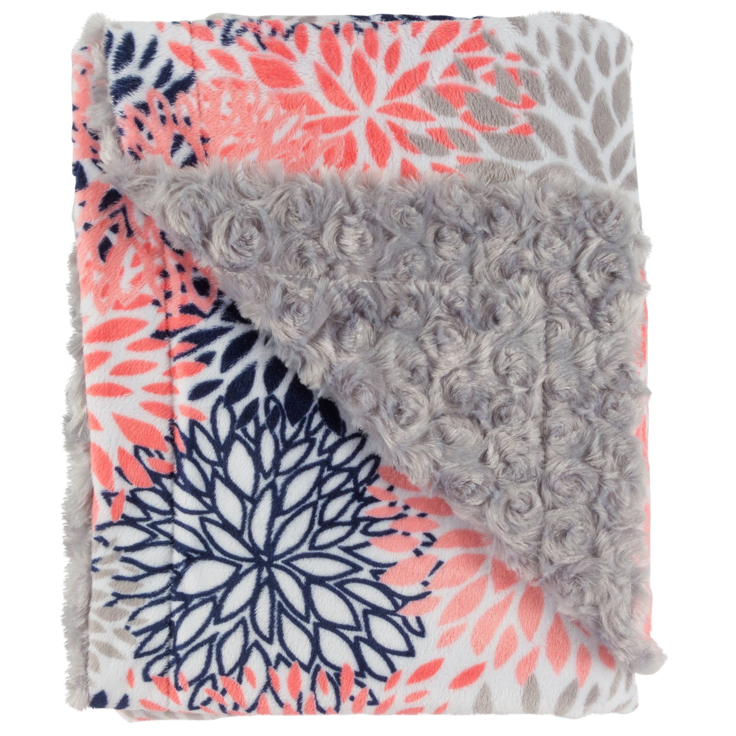 Ultra Soft Plush Baby Receiving Blanket - Luscious, Luxurious and Cuddly Minky Reversible Blankie - Multicolor Baby Bloom - 30'' x 36'' - by Posh Designs by Posh Designs