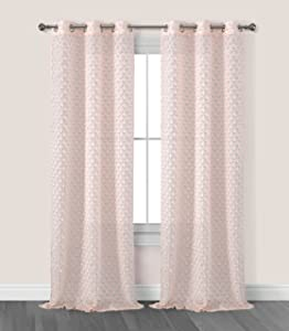 Dainty Home Arianna Scalloped Rows Grommet Window Curtain Panel Pair, 38