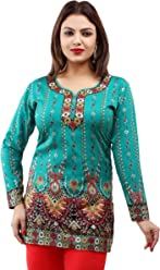 Unifiedclothes Women Fashion Casual Short Indian Kurti Tunic Kurta Top Shirt Dress 28C