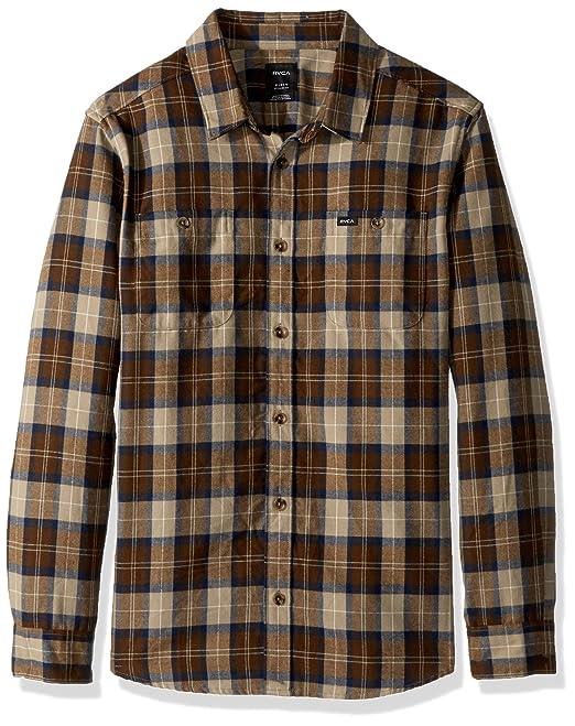 afd9aab8 RVCA Men's Bone Flannel Long Sleeve Woven Shirt, Dark Khaki M: Amazon.ca:  Clothing & Accessories