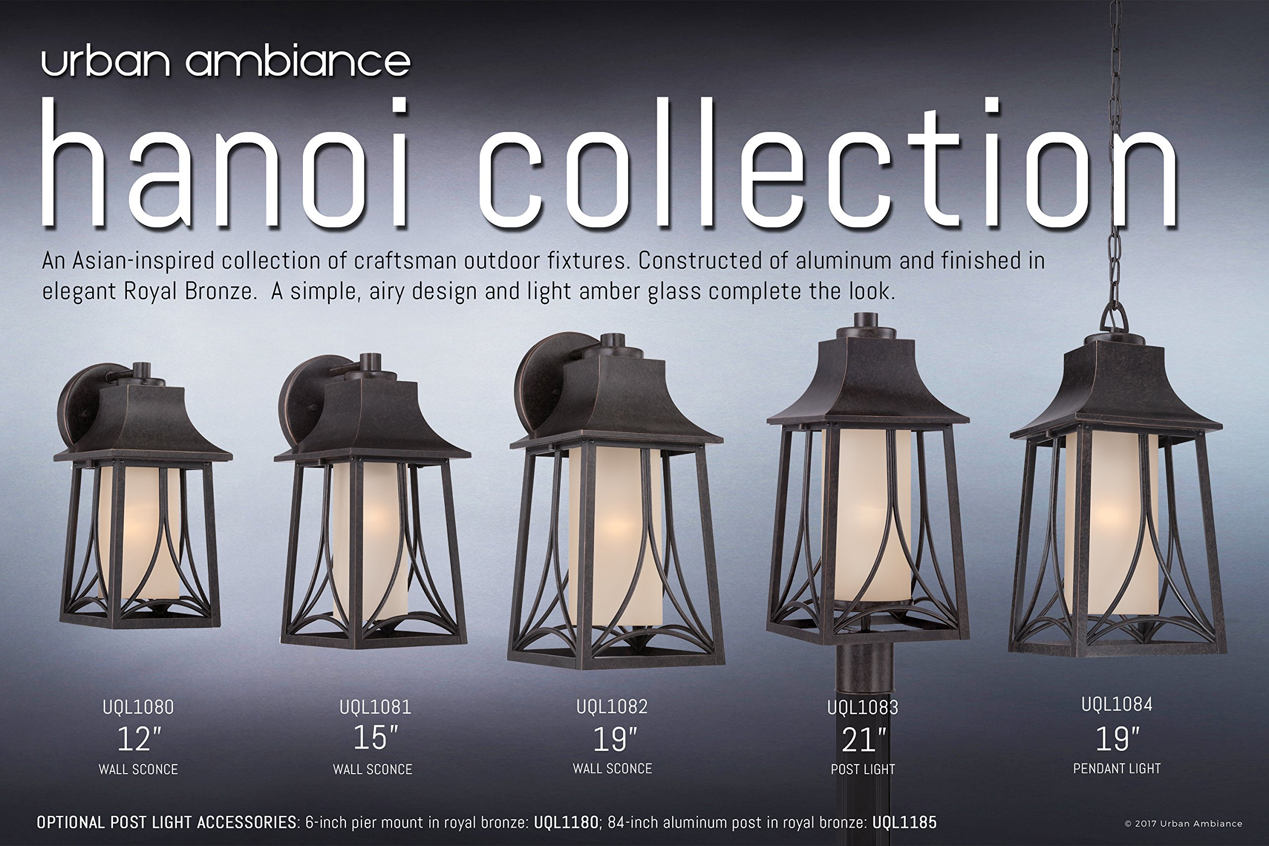 Luxury Asian Outdoor Post Light, Large Size: 21''H x 8.5''W, with Craftsman Style Elements, Airy and Simplistic Design, Beautiful Royal Bronze Finish and Light Amber Glass, UQL1083 by Urban Ambiance by Urban Ambiance (Image #6)