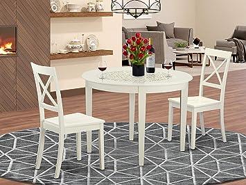 East West Furniture BOST3-WHI-W - Juego de Mesa de Cocina y 2 sillas para 2 Personas (3 Piezas): Amazon.es: Juguetes y juegos