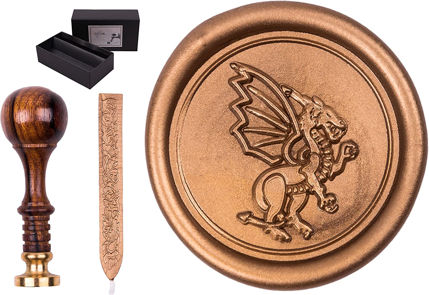 Sigillo timbro set con incisioneSigillum Dragon ceralacca stick 1/ in confezione regalo