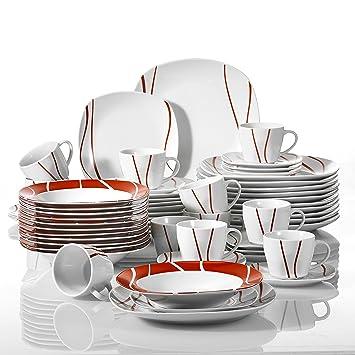 MALACASA, Série Felisa, 60pcs Services de Table Complets Porcelaine, 12  Tasses, 12 9b7c08878483