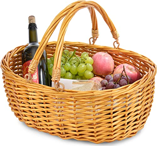 Wicker Basket with Double Folding Handles Wicker Easter Basket Storage of Plastic Easter Eggs and Easter Candy Willow Picnic Basket Organizer Blanket Storage Bath Toy and Kids Toy Storage
