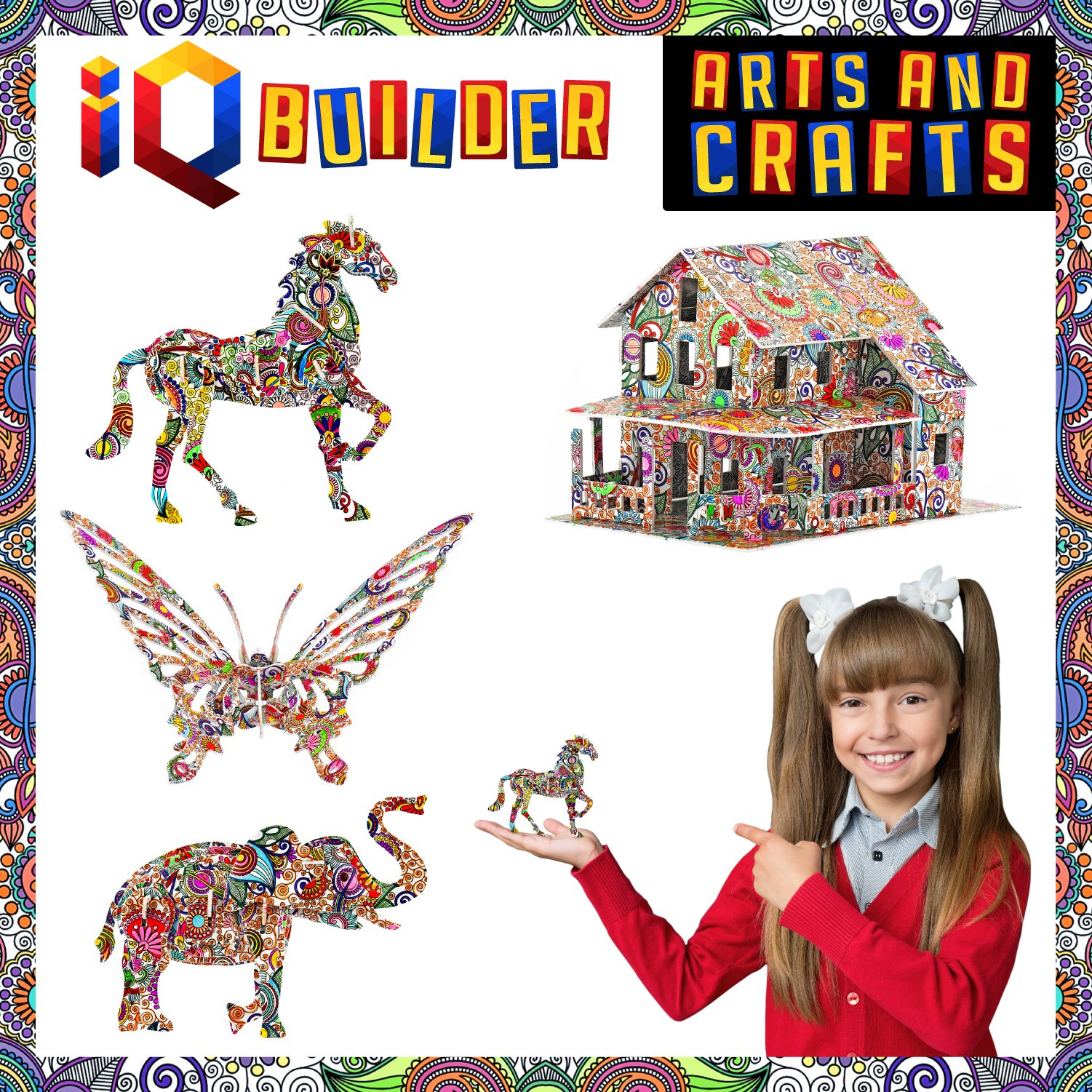 IQ BUILDER | ARTS AND CRAFTS FOR GIRLS AGE 7 8 9 10 11 12 YEAR OLD AND UP | 3D ART COLORING PAINTING ANIMAL PUZZLE SET | FUN CREATIVE DIY TOYS | FAMILY CRAFT KIT WITH SUPPLIES | BEST TOY GIFT FOR KIDS by IQ BUILDER