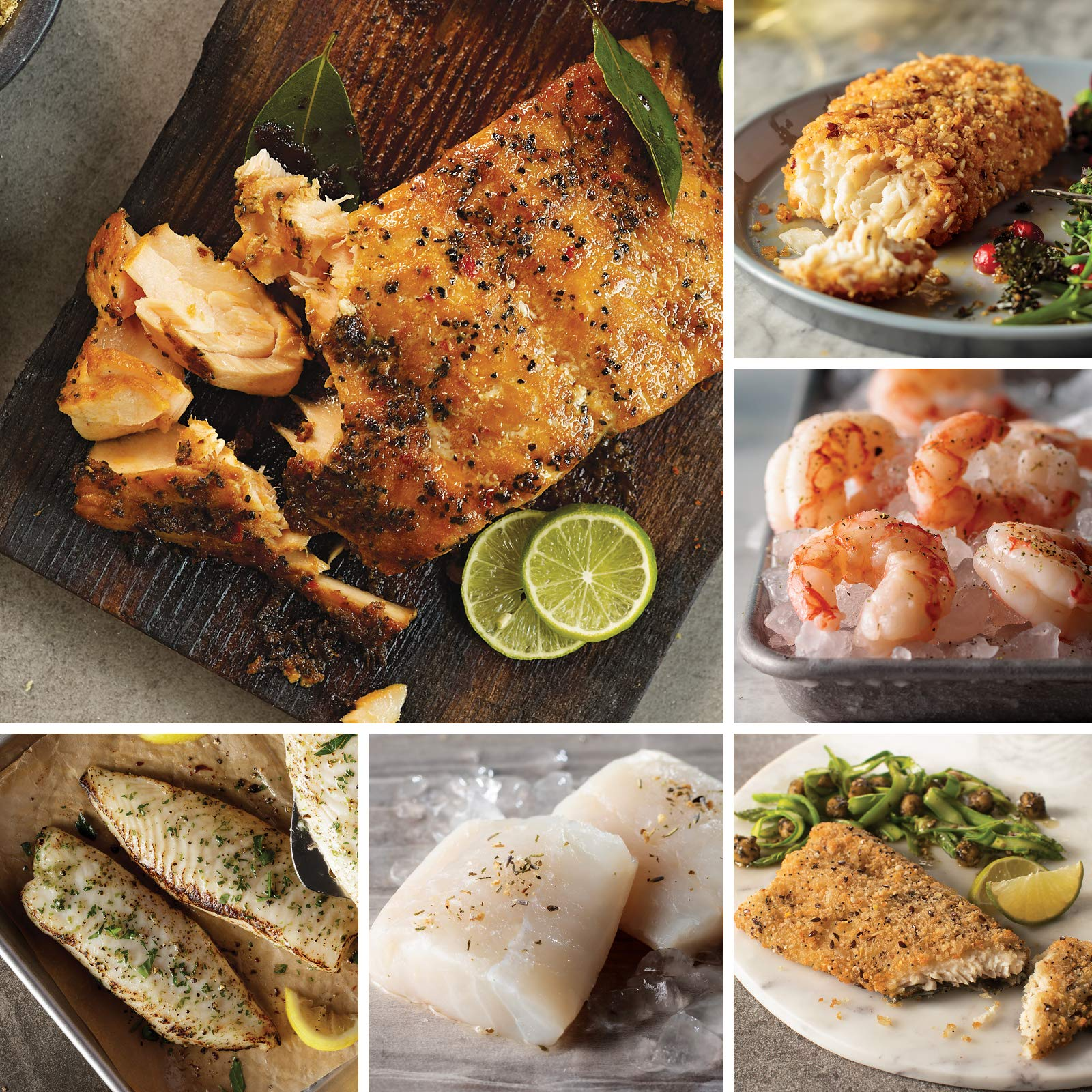 Omaha Steaks Seafood Friday Favorites (18-Piece with Marinated Salmon Fillets, Lemon-Garlic Tilapia, Wild Argentinean Red Shrimp, Rainbow Trout Fillets, Icelandic Cod Fillets, and Haddock Fillets)