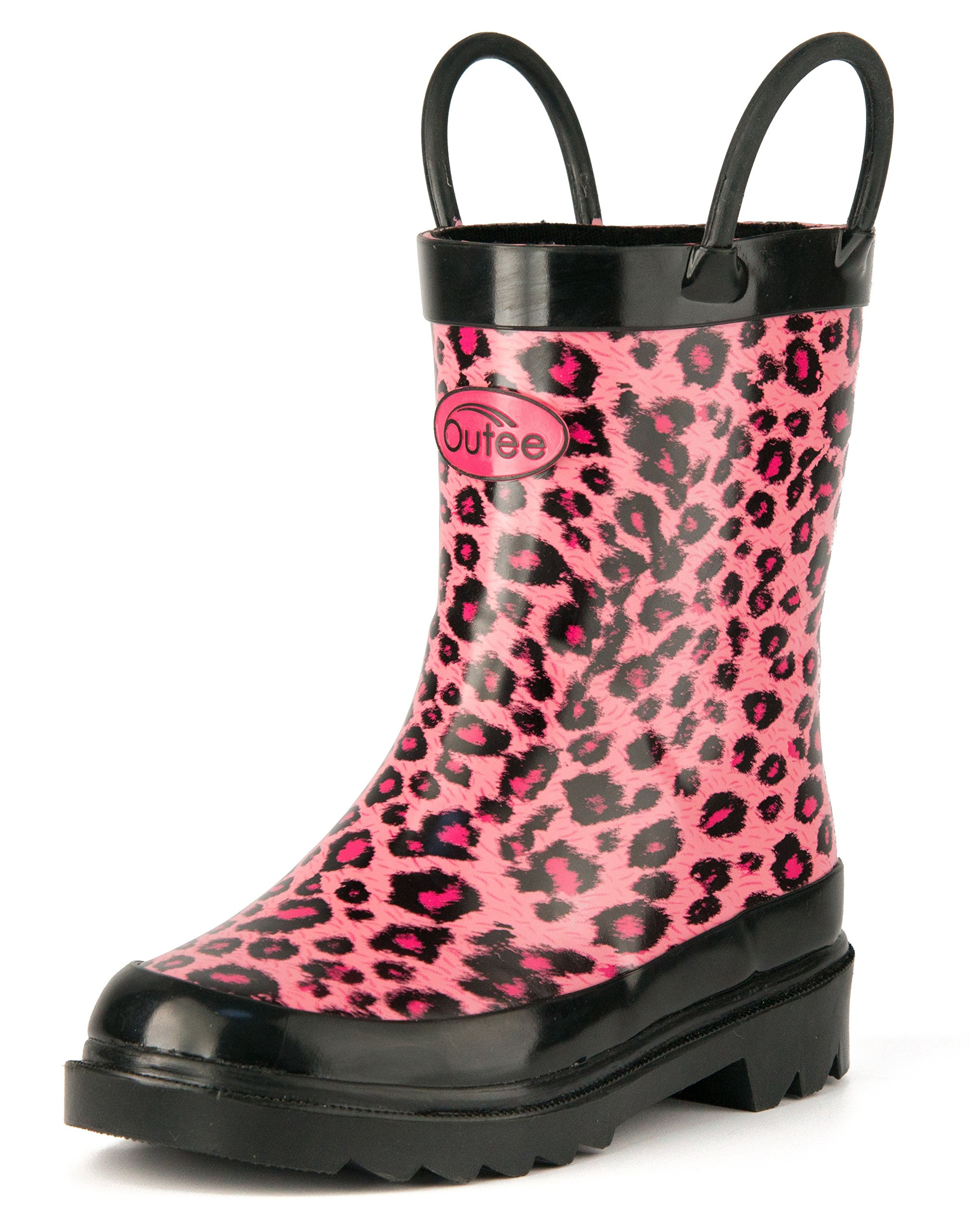 Outee Toddler Girls Kids Rubber Rain Boots Waterproof Shoes Pink Leopard Printed with Easy-On Handles Classic Comfortable Removable Insoles Anti-Slippery Durable Sole with Grip (Size 8,Pink)