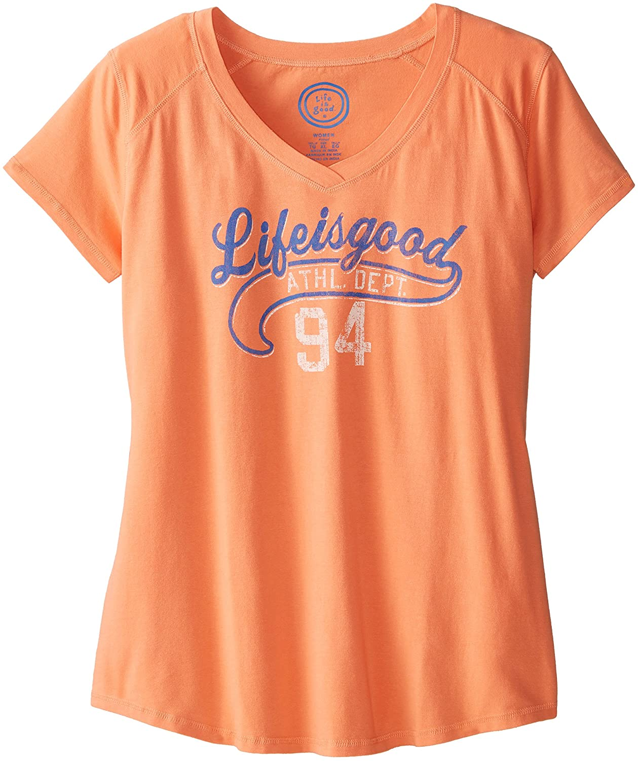 Life is good Women's Vee LIG Athletics Dept. Tech Tee