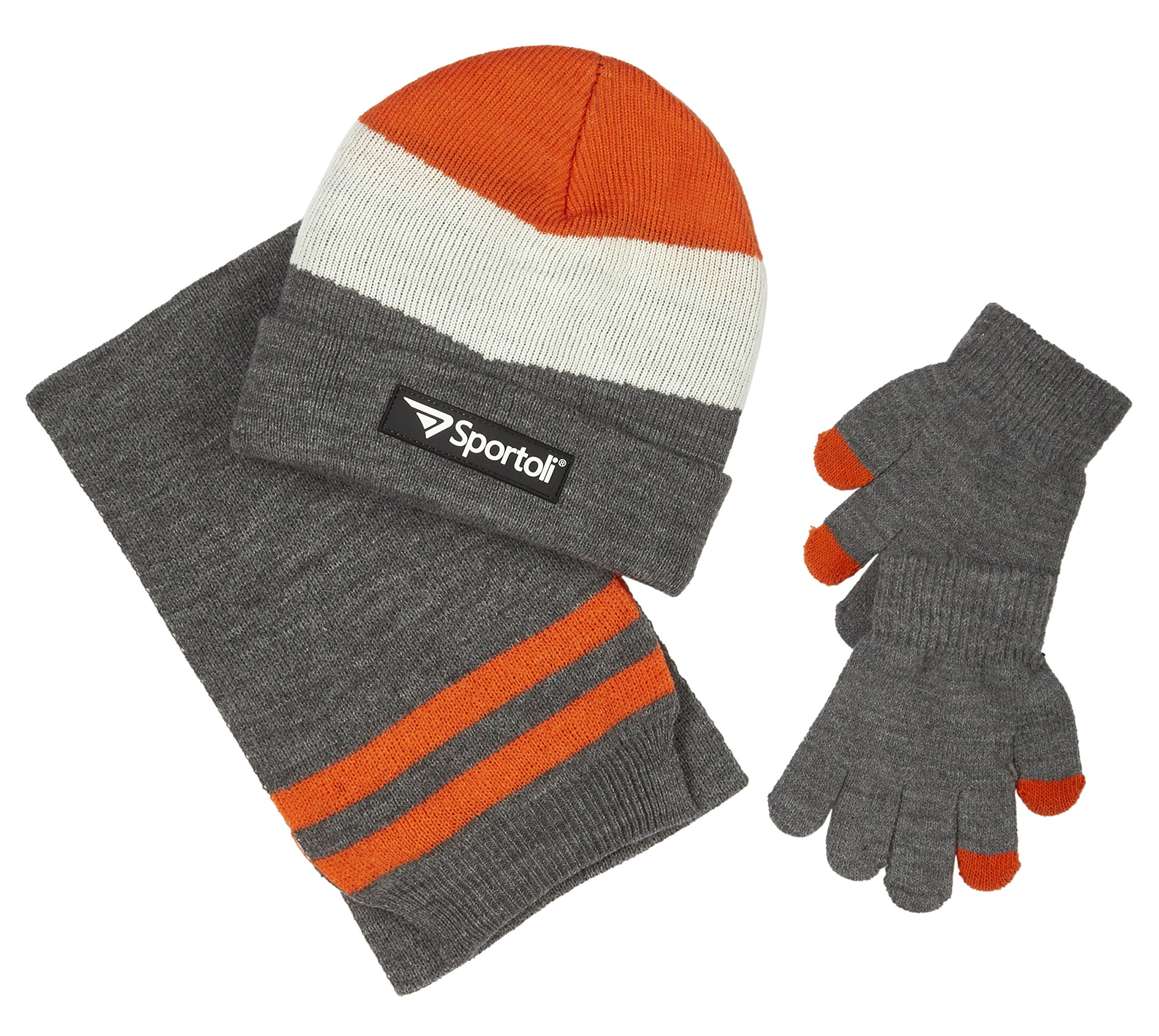 Sportoli Boys' Kids Knit Cold Weather Accessory Set Warm Hat, Scarf and Gloves (Heather Grey Chevron),Boys One Size / 8-20