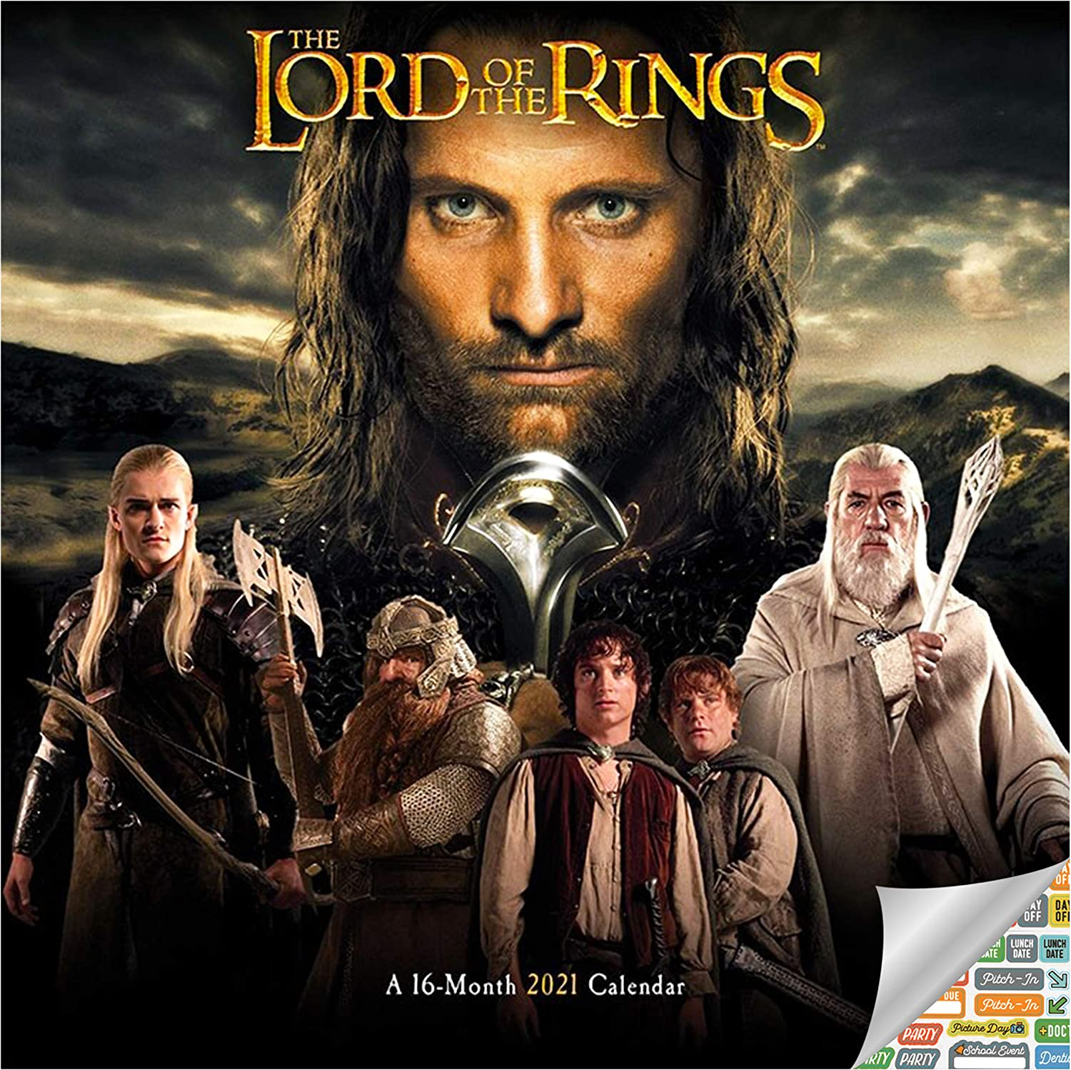 The Lord of The Rings Calendar 2021 Bundle - Deluxe 2021 The Lord of The Rings Wall Calendar with Over 100 Calendar Stickers (LOTR Gifts, Office Supplies)