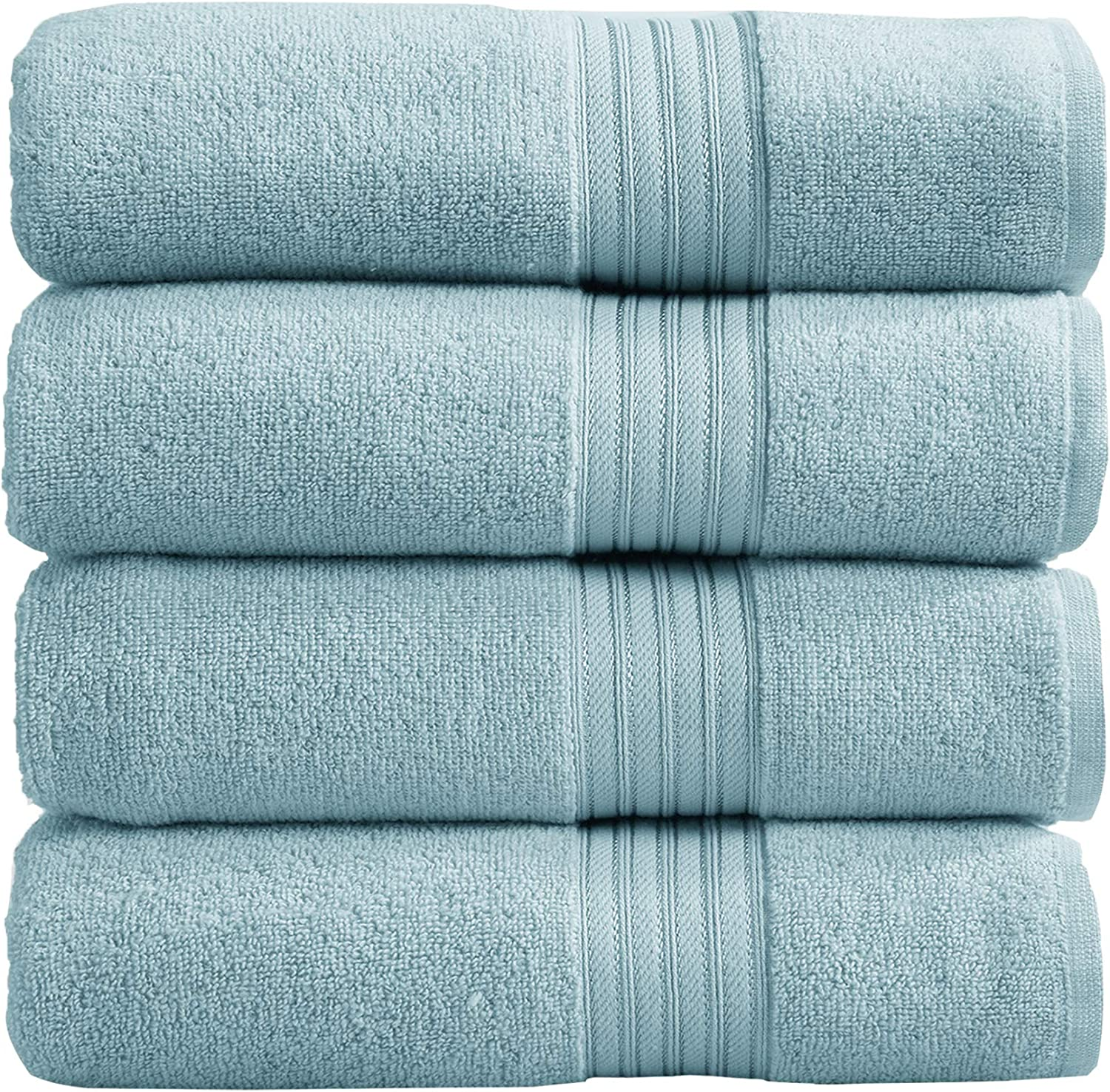4-Pack Bath Towel Set. 100% Cotton Bathroom Towels. Absorbent Quick-Dry Plush Bath Towels. Cooper Collection. (Bath Towels, Spa Blue)