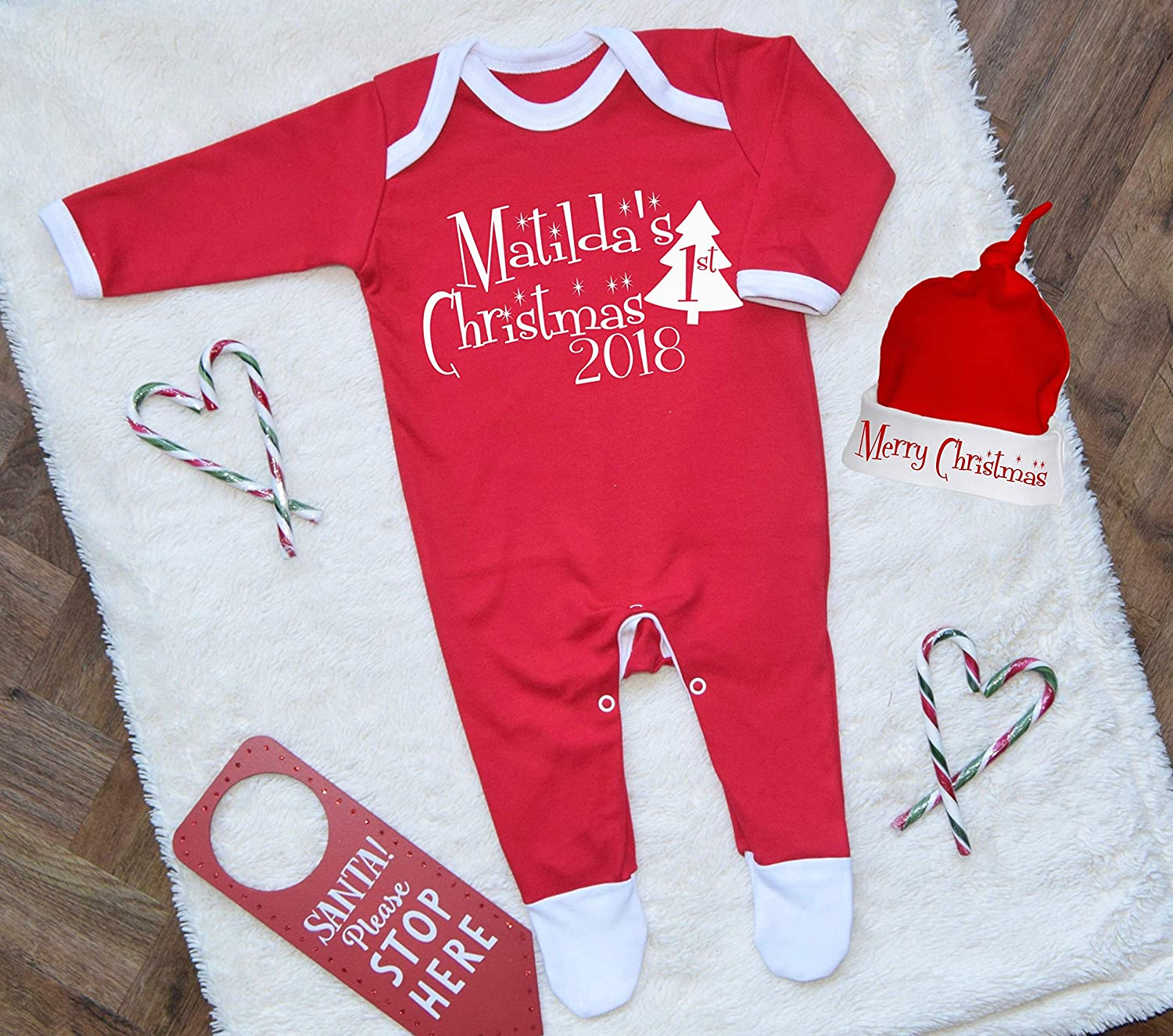 Personalised First Christmas 2018 Baby Romper and Hat Set Babygrow Babis First Christmas 2018 Baby Girl Baby Boy Outfit