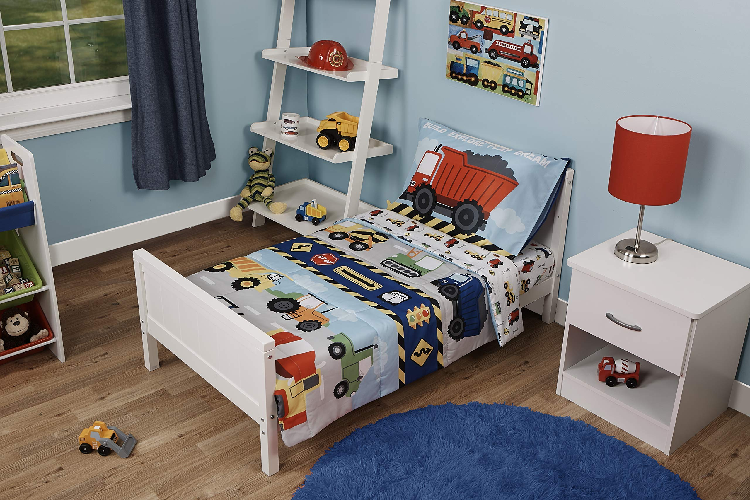Funhouse 4 Piece Toddler Bedding Set - Includes Quilted Comforter, Fitted Sheet, Top Sheet, and Pillow Case - Construction Car and Truck Design for Boys Bed by Baby Boom